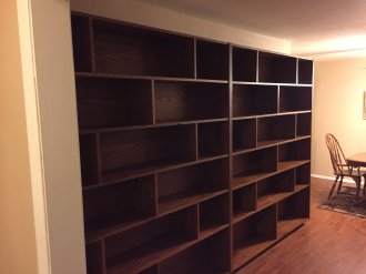 Picture of a built-in bookcase done by professionals in Bixby.
