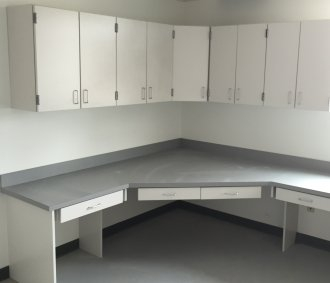 Commercial cabinets built for a workstation in Tulsa.